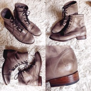 FRYE ERIN LUG BOOT LACE UP FAWN 9.5